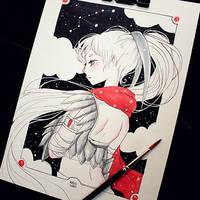 Inktober 2017 - #04 - Yuzuriha by Rabiscario
