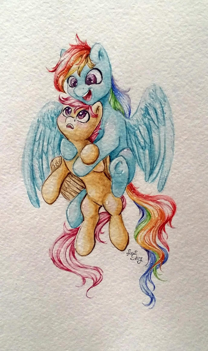 Rainbow Dash and Scootaloo  by AmiShy