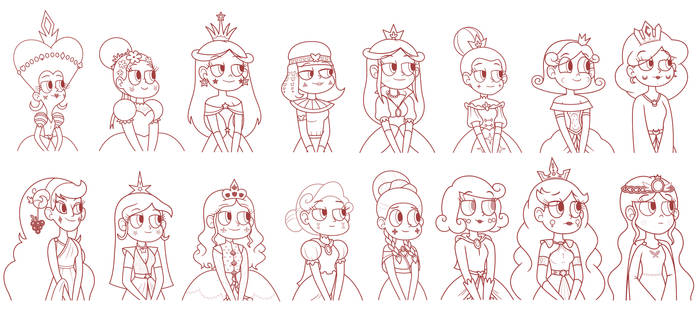 Queens of Mewni - Biography Paintings Sketch