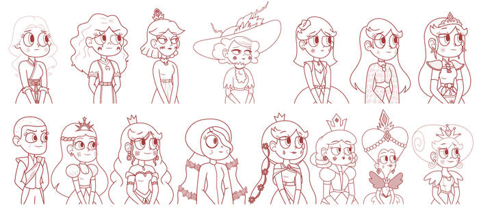 Queens of Mewni - Biography Paintings Sketch 2 by jgss0109