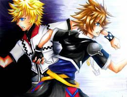 Kingdom Hearts-Roxas and Sora by elleinead