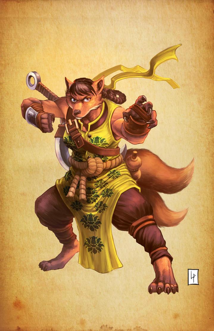 Kitsune monk by Savedra