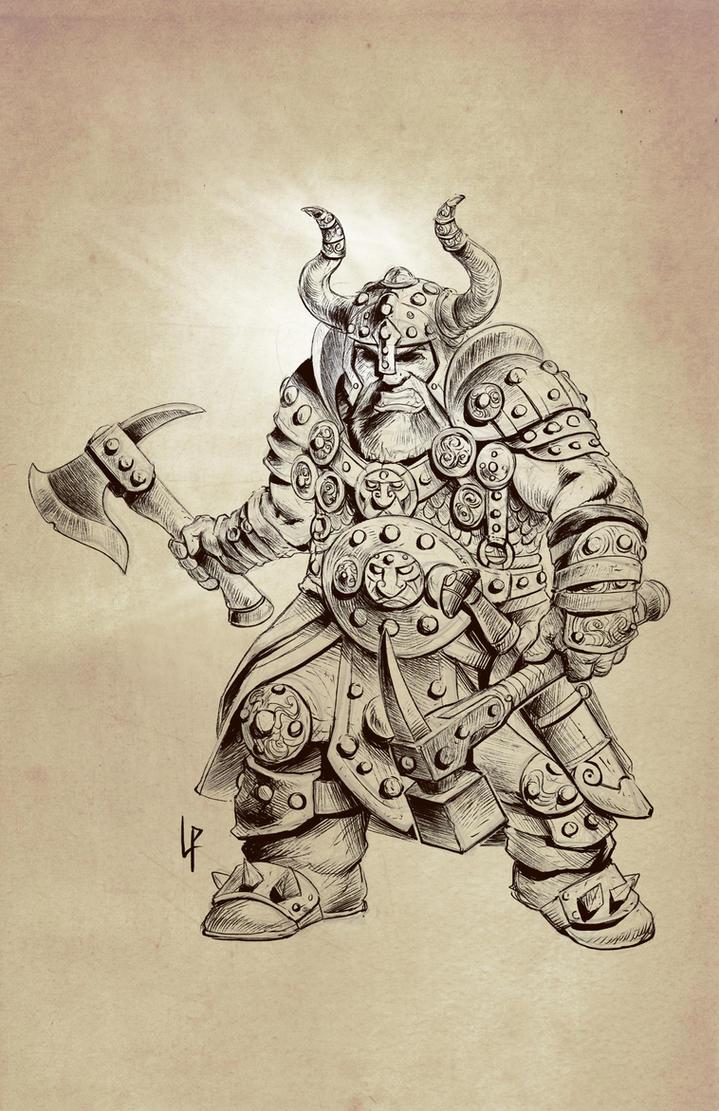 Dwarf warrior sketch by Savedra