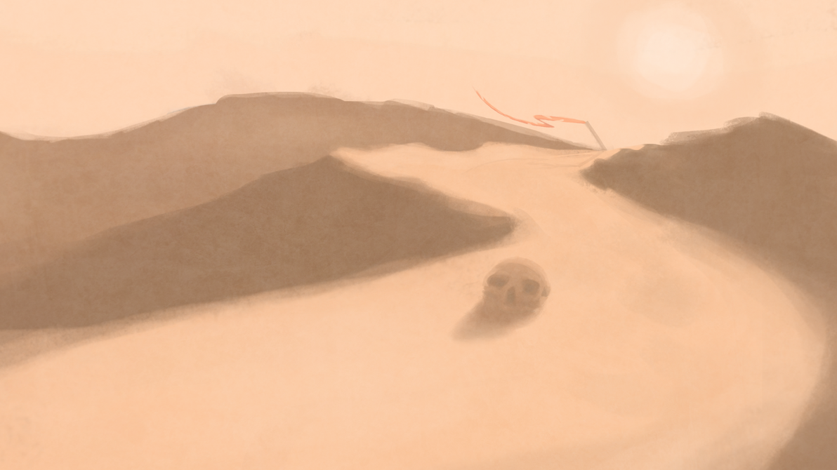 Journey past the desert skull by MetricZero