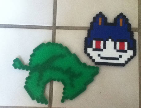 animal crossing perlers (leaf and rover)