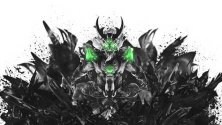 Ao Kuang Dragon King Smite Black and White by SpiritAJ