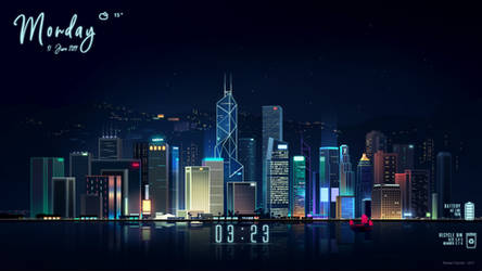 Neon Cities Rainmeter Skin