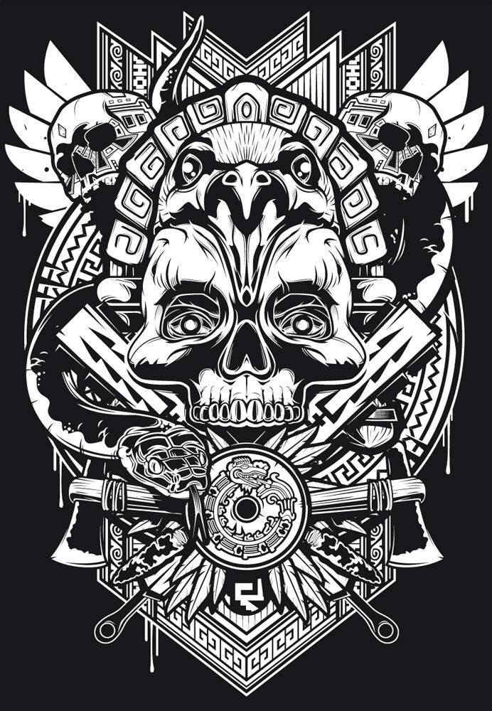Tlatoani print design by iamaxiom on deviantart for 2017 mexican heritage night t shirt