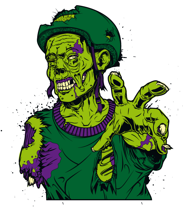 Zombie sticker by iamaxiom
