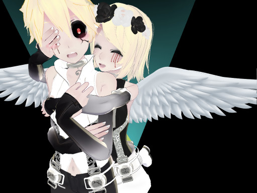 mmd pose] hug from behind [+download]the-sinister-panda on