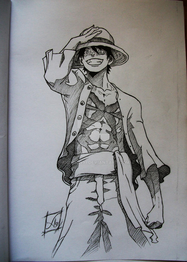 Luffy ink by andrian91 on deviantart for One piece dibujos