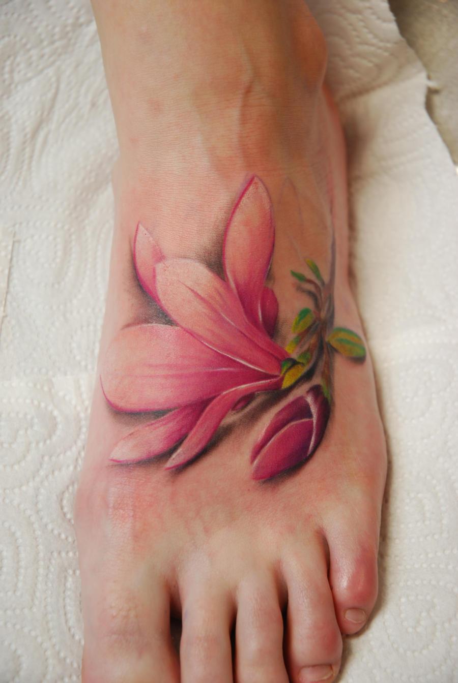 magnolia foot tattoo - photo #4