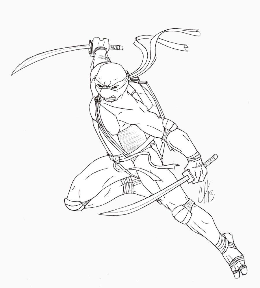 Line Art Ninja Turtles : Tmnt leonardo lines by dymira on deviantart