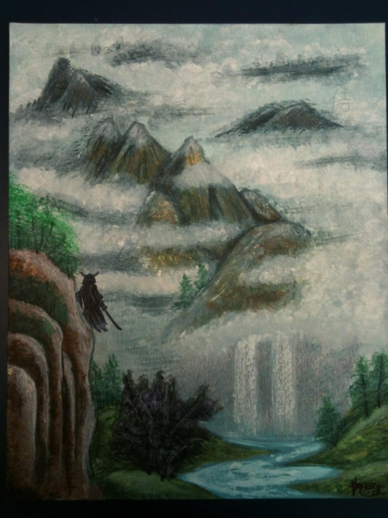 waterfall painting by shroomstone