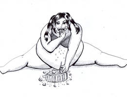 Fat girl eating cake Commission