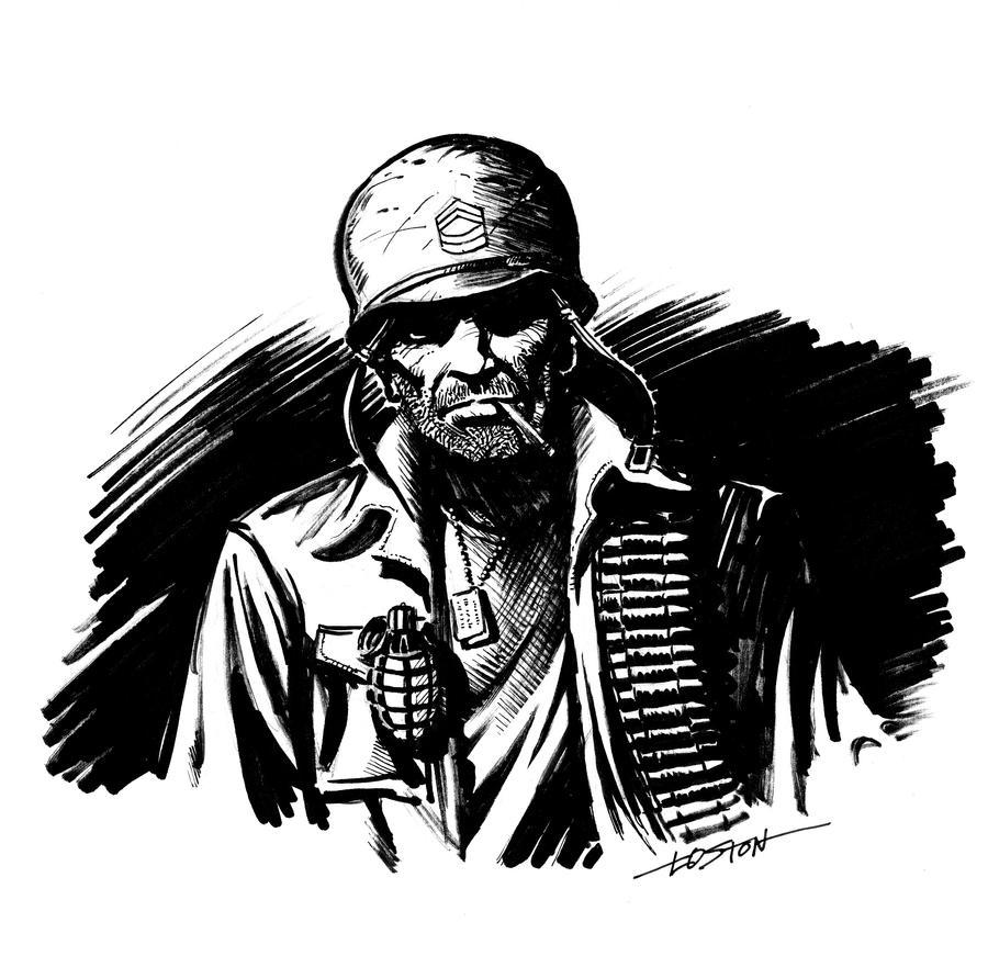 sgt_rock_sketch_by_lostonwallace-d4mq2g1