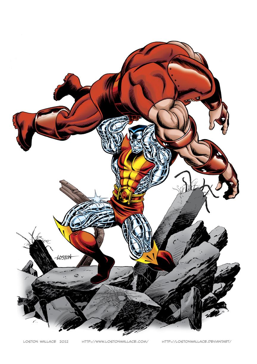 colossus vs juggernaut color by lostonwallace on deviantart