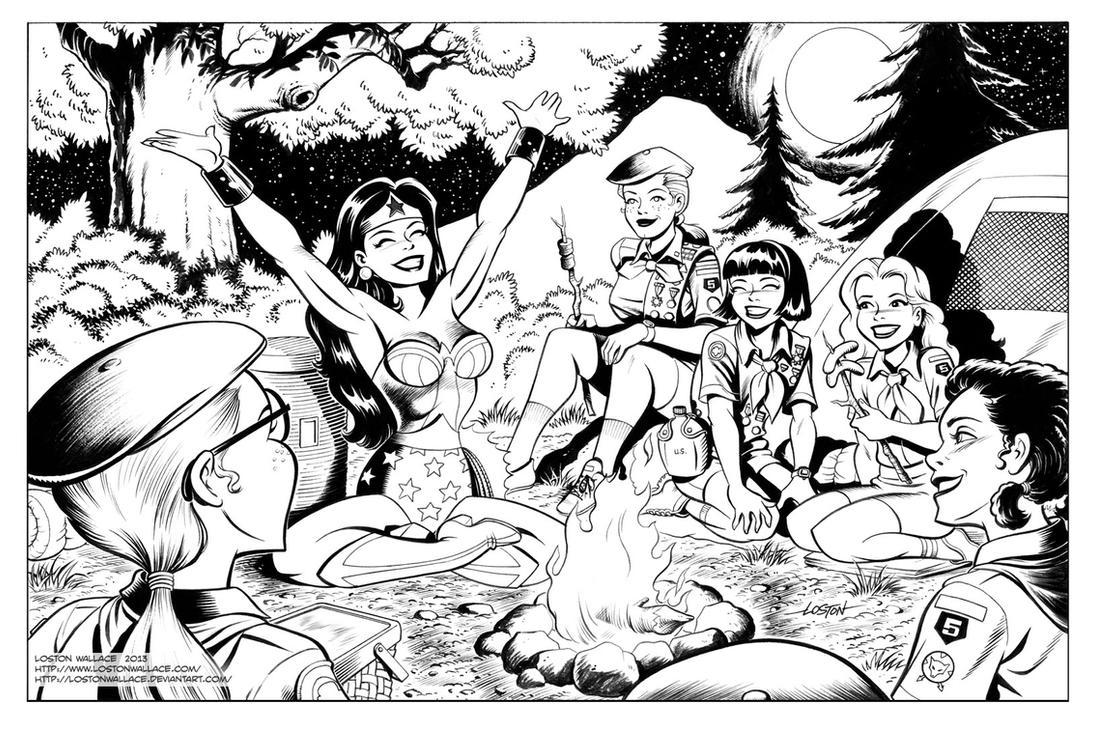 Wonder Woman Wonder Camp Inks by LostonWallace