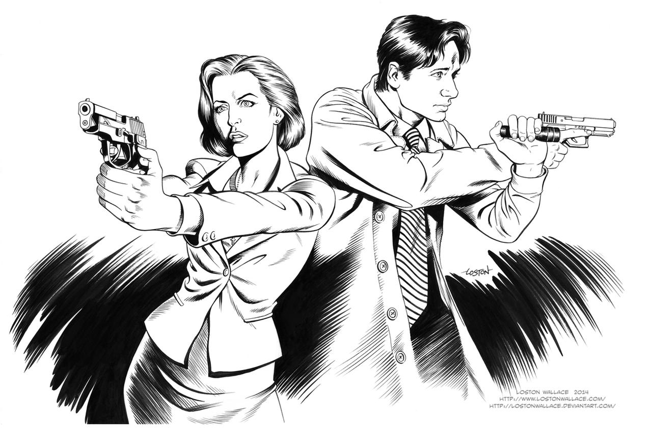 X FILES AGENT SCULLY And MULDER INKS By LostonWallace