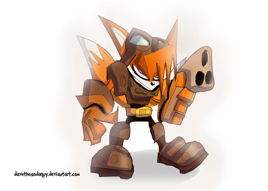 Inktober  - Tails' Skypatrol 2 Badnik Buster Armor by DaveTheSodaGuy
