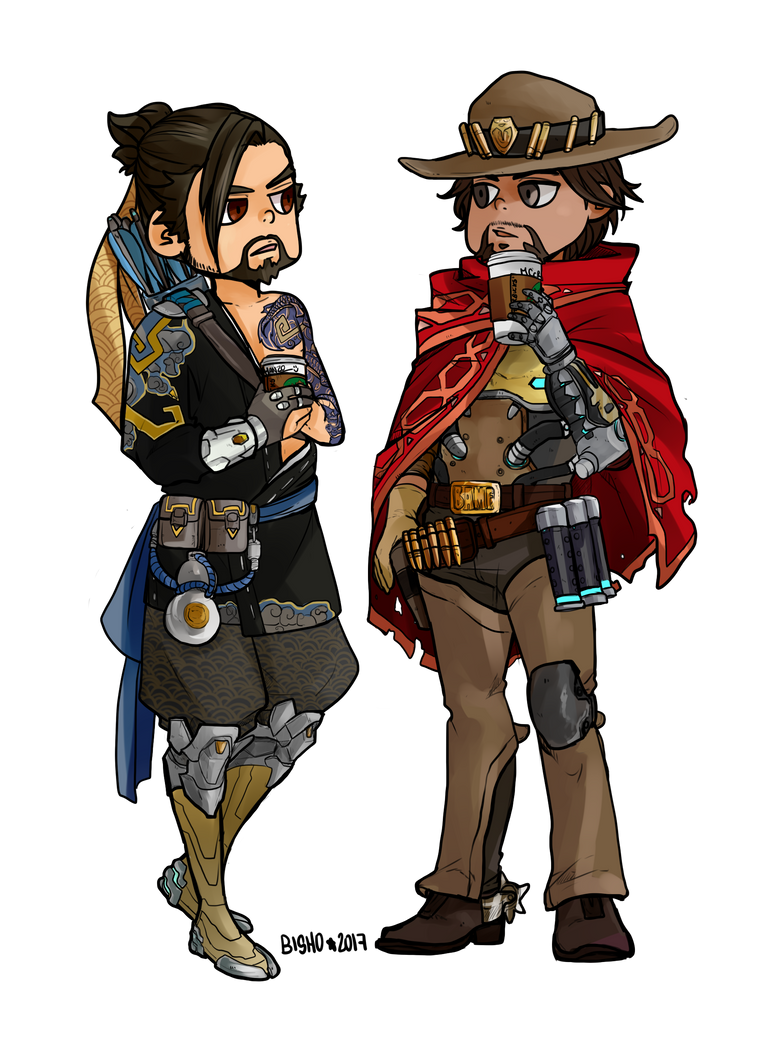 COMMISSION - Overwatch - Hanzo and Mccree by Bisho-s