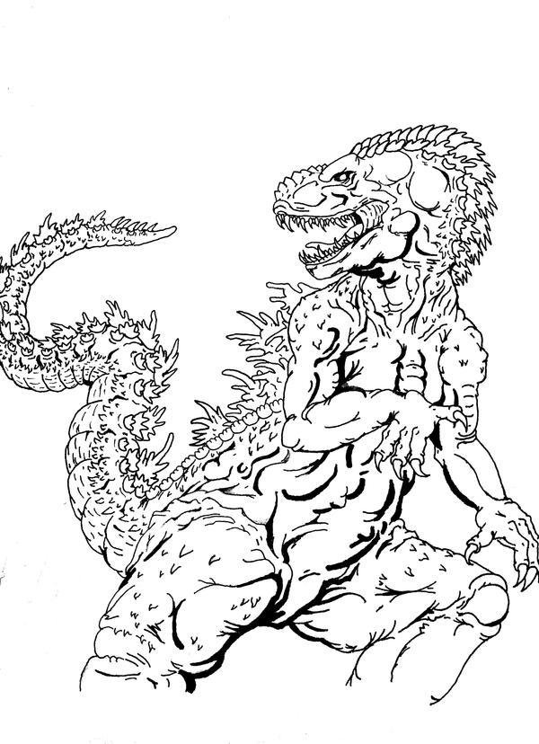 Godzilla Sketch WIP inked by Crocazill on DeviantArt
