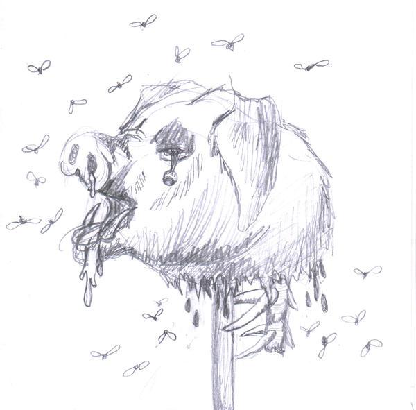 Cartoon pig head on a stick - photo#19