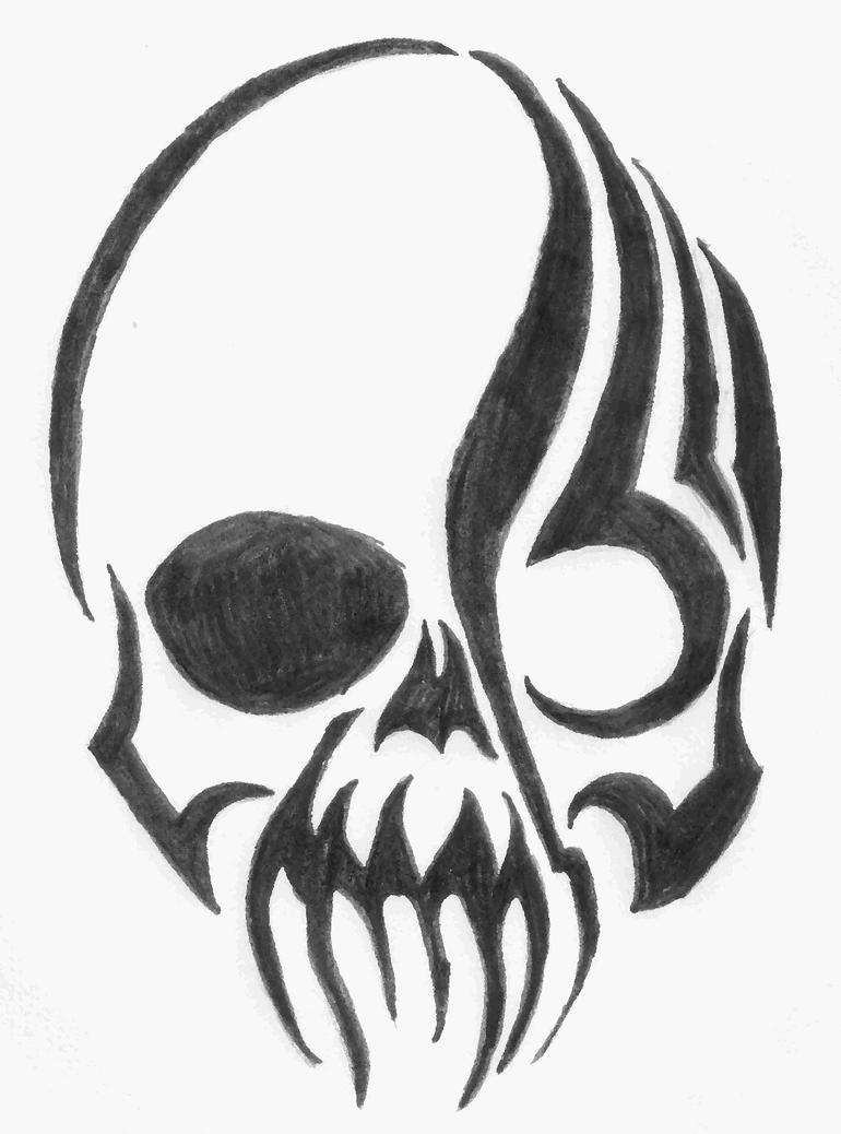 It is an image of Witty Tribal Skull Drawing