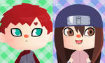 Gaara and Sari animal crossing avatar by Uzumaki-Sakura-NS