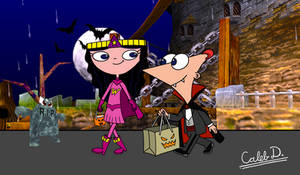 PnF - Count Phineas + Wonderbella (Halloween art)