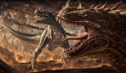The fall of dinosaurs - Illustration