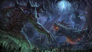 Dragon and demons - Illustration