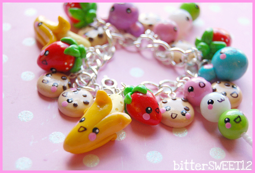 Kawaii friends charm bracelet1 by bittersweetones on - Idee de pate fimo ...