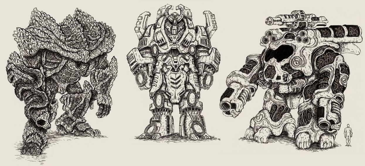 Three Mecha by MattRIllustration