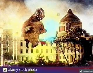 Godzilla Japan Capital Buidling (Colorized)