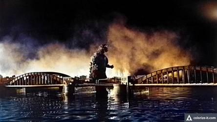 Godzilla Heading Back Into Tokyo Bay (Colorized)