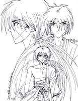 Kenshin Line Drawing by vanmaniac