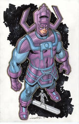 Galactus and the Silver Surfer Commission by aaronlopresti