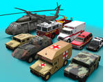 Low poly vehicles.
