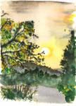 Setting sun in Hyeres by Lechtonen