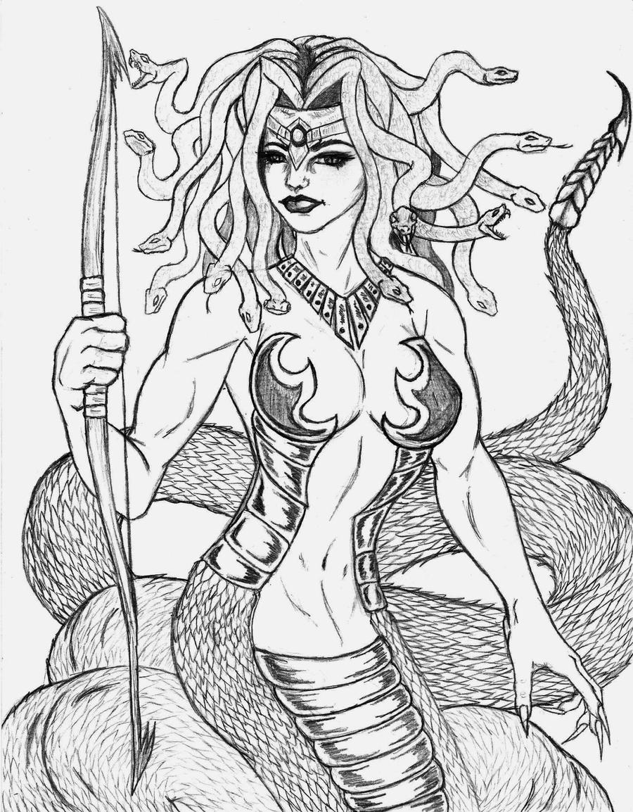 Medusa by the musedragon on deviantart for Medusa coloring pages