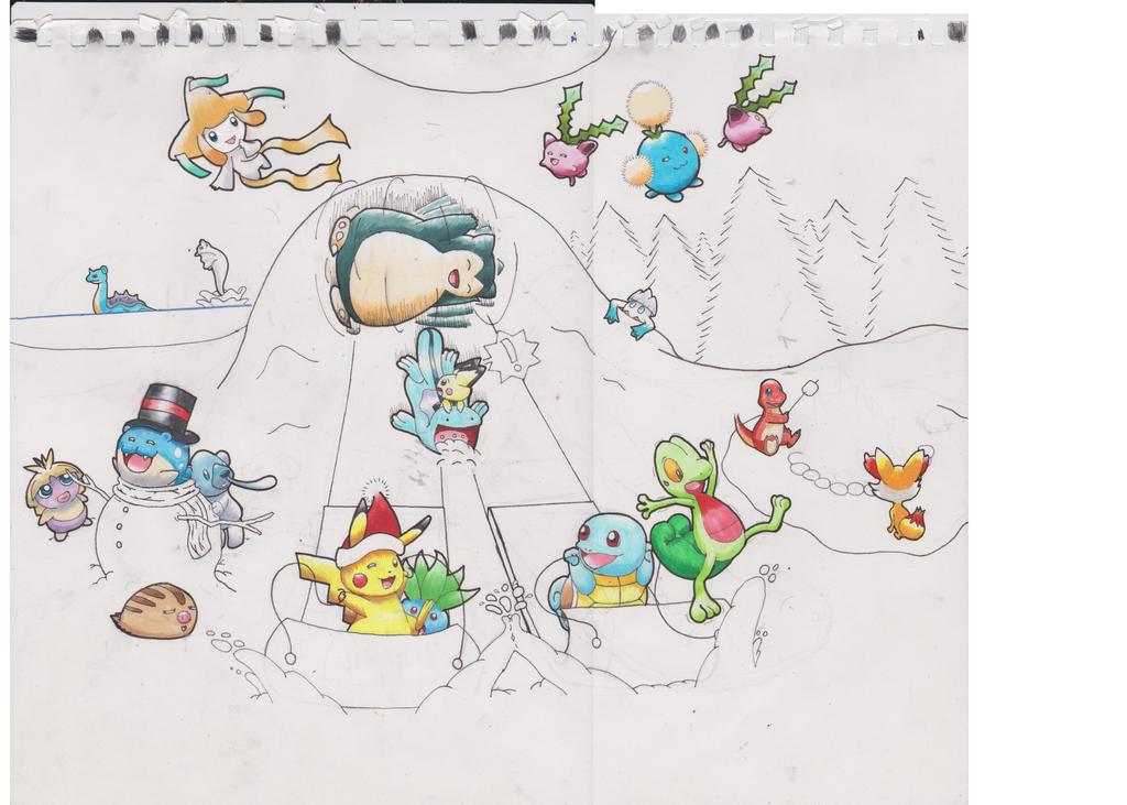 Pokemon winter gift art 1st draft by animefan-no1