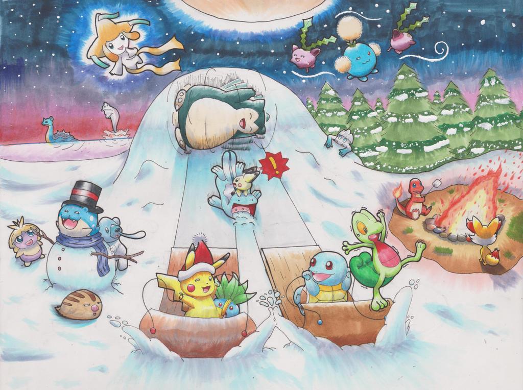 Pokemon winter gift art Final Copy by animefan-no1