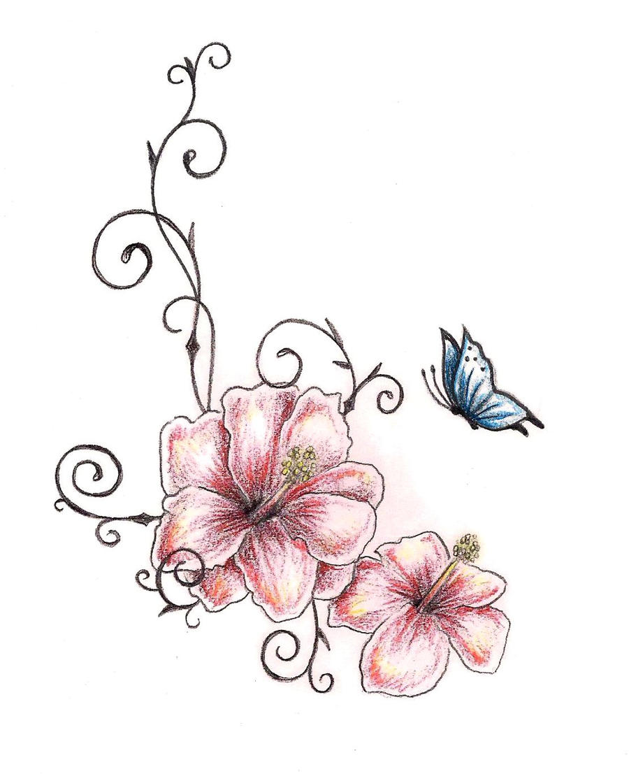 Hibiscus Flower Tattoo Drawings