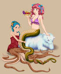 Octopus mermaid and Lamia colored
