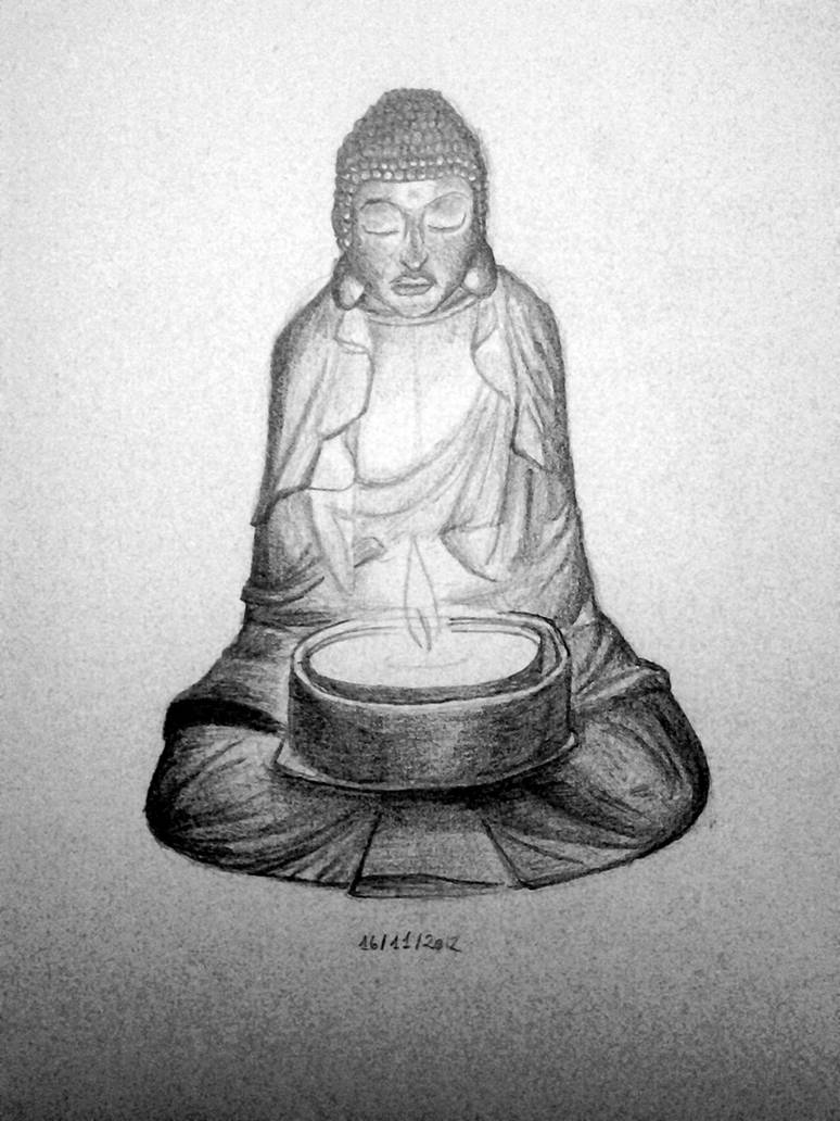 Buddha candle pencil drawing by sharayanan on deviantart