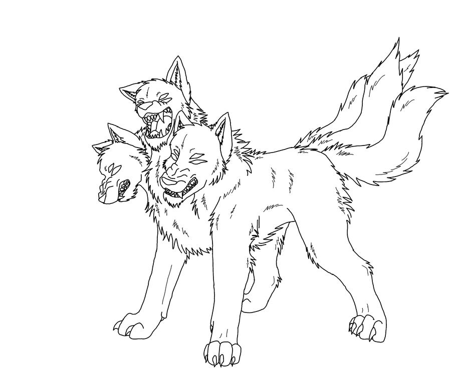 cerberus coloring pages - cerberus the three headed dog drawing