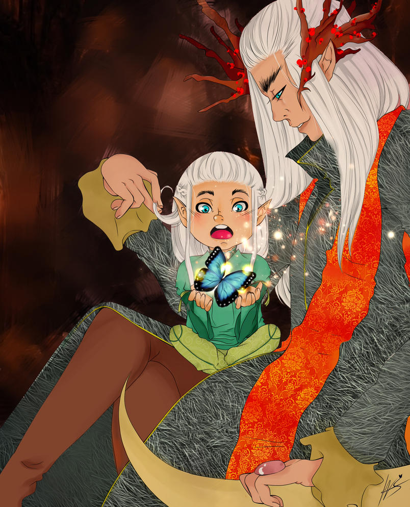 Thranduil and Legolas by LadyNamy
