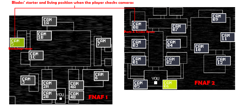 My starter position in FNAF 1 and FNAF 2 map by C-orrupted-Wolf on
