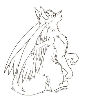 Free Winged Wolf Lineart